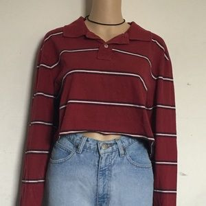 Vintage Striped Cropped Collared Tshirt